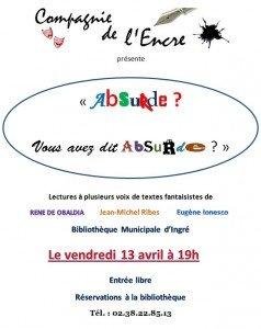 Vendredi 13 avril : lectures à la Bibliothèque municipale d'Ingré (gratuit) dans